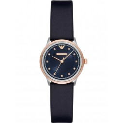 Emporio Armani Ladies Two Tone Blue Leather Strap Watch AR2066