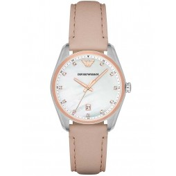 Emporio Armani Ladies Stainless Steel Pink Leather Strap Watch AR6133