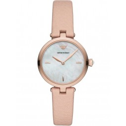 Emporio Armani Ladies Rose Gold Plated Mother Of Pearl Dial Pink Leather Strap Watch AR11199