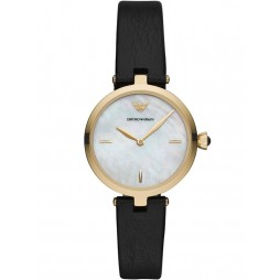 Emporio Armani Ladies Arianna Gold Plated Mother Of Pearl Dial Black Leather Strap Watch AR11200