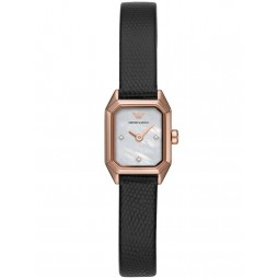 Emporio Armani Ladies Rose Gold Plated Mother Of Pearl Octagonal Dial Black Leather Strap Watch AR11248