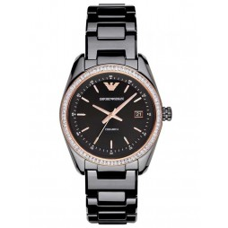 Emporio Armani Ladies Black Ceramic Watch AR1496