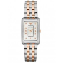 Emporio Armani Ladies Two Tone Rectangular Watch AR1905