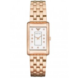 Emporio Armani Ladies Rose Gold Rectangular Watch AR1906