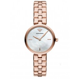 Emporio Armani Ladies Rose Gold Plated Mother Of Pearl Dial Bracelet Watch AR11196