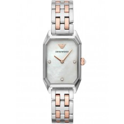 Emporio Armani Ladies Gioia Two Tone Rectangle Mother Of Pearl Crystal Set Dial Bracelet Watch AR11146