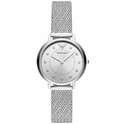 Emporio Armani Ladies Kappa Crystal Set Silver Dial Mesh Strap Watch AR11128