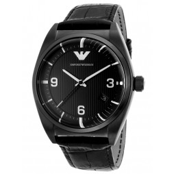 Emporio Armani Classic Mens Black Leather Strap Watch AR0368