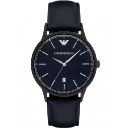 Emporio Armani Mens Blue Leather Strap Watch AR2479