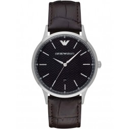 Emporio Armani Mens Brown Leather Strap Watch AR2480