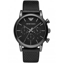 Emporio Armani Mens Chronograph Leather Strap Watch AR1737