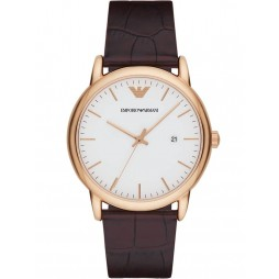 Emporio Armani Mens Luigi Rose Gold Plated White Dial Brown Leather Strap Watch AR2502