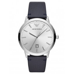Emporio Armani Mens Ruggero Silver Dial Black Leather Strap Watch AR11194