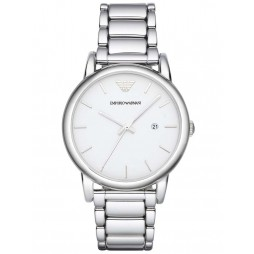 Emporio Armani Mens White Dial Bracelet Watch AR1854