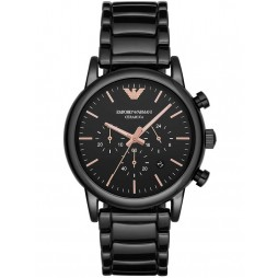 Emporio Armani Mens Chronograph Black Ceramic Bracelet Watch AR1509