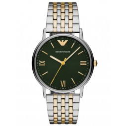 Emporio Armani Mens Kappa Two Tone Green Dial Bracelet Watch AR11228