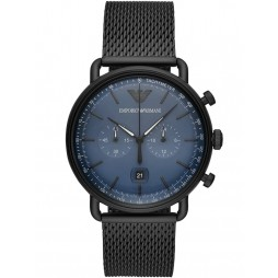 Emporio Armani Mens Aviator Blue Dial Black Mesh Strap Watch AR11201