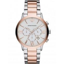 Emporio Armani Mens Giovanni Two Tone Silver Chronograph Dial Bracelet Watch AR11209