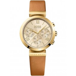 Hugo Boss Ladies Gold Plated Brown Leather Strap Watch 1502396