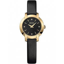 Hugo Boss Ladies Gold Plated Black Leather Strap Watch 1502383