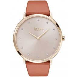 BOSS Ladies Jillian Brown Leather Strap Watch 1502411