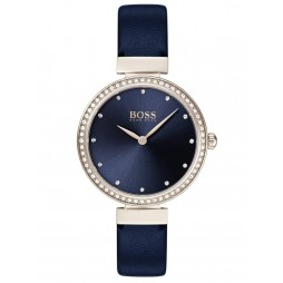 BOSS Ladies Celebration Rose Gold Plated Blue Leather Strap Watch 1502477