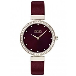 BOSS Ladies Celebration Rose Gold Plated Bordeaux Sunray Dial Leather Strap Watch 1502481