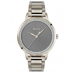 BOSS Ladies Twilight Rose Gold Plated Grey Stone Set Dial Bracelet Watch 1502463
