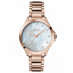 BOSS Ladies Diamonds For Her Rose Gold Plated Mother Of Pearl Dial Bracelet Watch 1502523