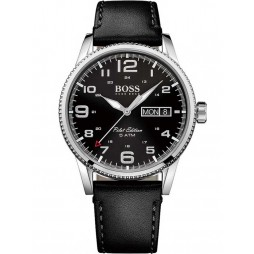 BOSS Mens Pilot Vintage Black Leather Strap Watch 1513330