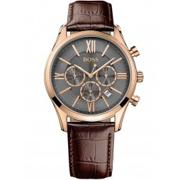 Hugo Boss Mens Ambassador Rose Gold Plated Brown Leather Strap Watch 1513198