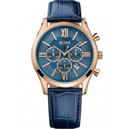 Hugo Boss Mens Ambassador Rose Gold Plated Blue Leather Strap Watch 1513320