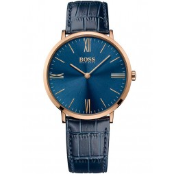 Hugo Boss Mens Jackson Rose Gold Plated Blue Strap Watch 1513371