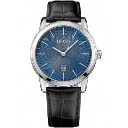 Hugo Boss Mens Blue Dial Black Leather Strap Watch 1513400