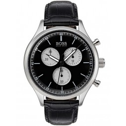 BOSS Mens Companion Chronograph Black Leather Strap Watch 1513543