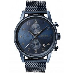 BOSS Mens Navigator Chronograph Blue Mesh Bracelet Watch 1513538