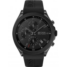 BOSS Mens Velocity Black Dial Rubber Strap Watch 1513720