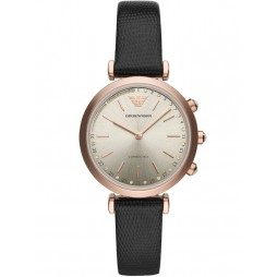 Emporio Armani Ladies Connected Rose Gold Plated Black Strap Smartwatch ART3027