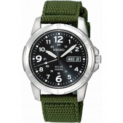 Seiko Mens Discover More Solar Green Fabric Strap Watch SNE095P2