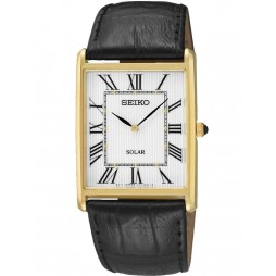 Seiko Discover More Solar Rectangular Gold Plated Leather Strap Watch SUP880P1