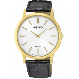 Seiko Discover More Solar Gold Plated Leather Strap Watch SUP872P1
