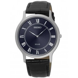 Seiko Mens Stainless Steel Black Leather Strap Watch SUP867P1