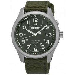 Seiko Mens Kinetic Green Fabric Watch SKA725P1
