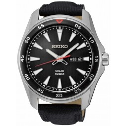 Seiko Mens Discover More Solar Black Leather Strap Watch SNE393P2