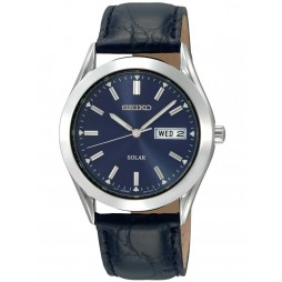 Seiko Mens Discover More Solar Blue Leather Strap Watch SNE049P9