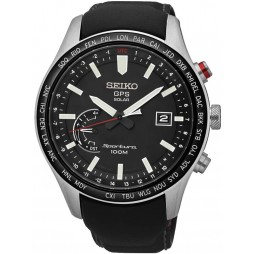 Seiko Mens Discover More Sportura Solar GPS Black Leather Strap Watch SSF007J1