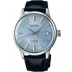 Seiko Mens Presage Automatic Blue Leather Strap Watch SRPB43J1