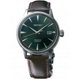 Seiko Mens Presage Automatic Green Leather Strap Watch SRPD37J1