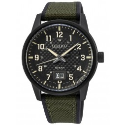 Seiko Mens Neo Sports Textured Black Dial Green Canvas Rubber Strap Watch SUR325P1