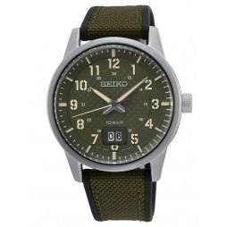 Seiko Mens Neo Sports Textured Green Dial Canvas Rubber Strap Watch SUR323P1